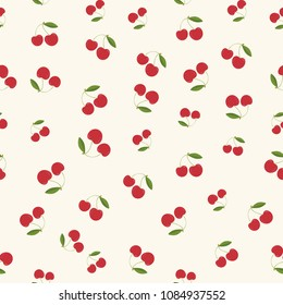 Seamless pattern background with cherry. Vector illustration.