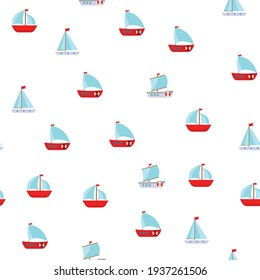 Seamless Pattern Background with Children's Cute ship. Vector Illustration EPS10