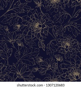 Seamless pattern background from chrysanthemums. Vector illustration.