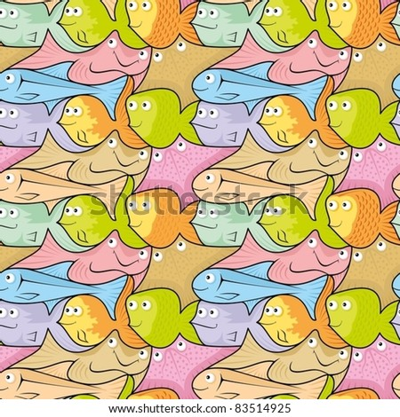 Seamless pattern background of colorful happy, smiling fish cartoons.
