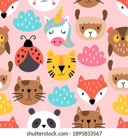 Seamless pattern background with cute animals heads. Childish print for cards, stickers, apparel and decoration. Vector Illustration