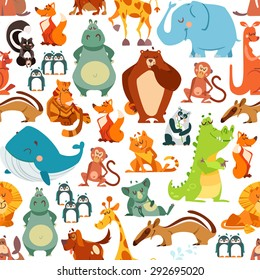 Seamless pattern or background with cute kawaii animals from around the world. Vector illustration for kids design, poster, textile or package design