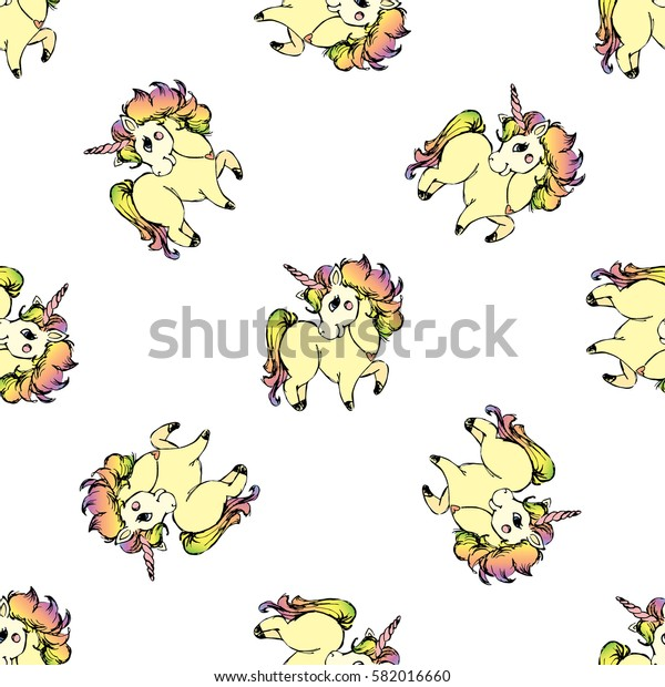 Seamless pattern background with cute unicorn,hand drawn,stock vector illustration