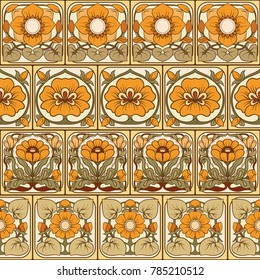 Seamless pattern, background with decorative elements in the style of ceramic tiles in art nouveau style. Stock vector illustration.