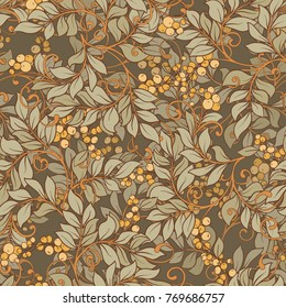 Seamless pattern, background with decorative flowers in art nouveau style, vintage, old, retro style.