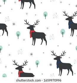 Seamless pattern Background with deer and trees with snowflakes. Cartoon characters. Cute animals. The design used for printing, background, gift wrapping, baby clothes, textile, vector illustration