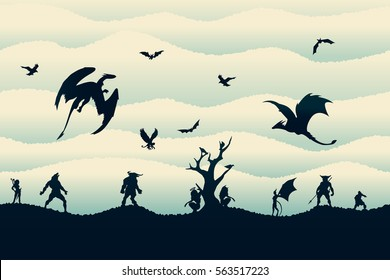 The seamless pattern background with different creatures, monsters, dragons and demons silhouettes