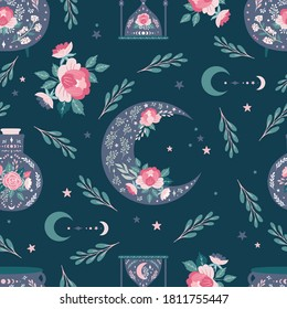 Seamless pattern background, digital paper with mystical moon, enchanting whimsical flowers, celestial patterns design for fabric, stationery, wallpaper, gift wrapping, scrapbook paper.