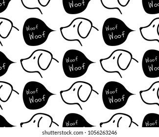 seamless  pattern background / dog barks woof woof / vector black white dog wallpaper background / swatches color AI