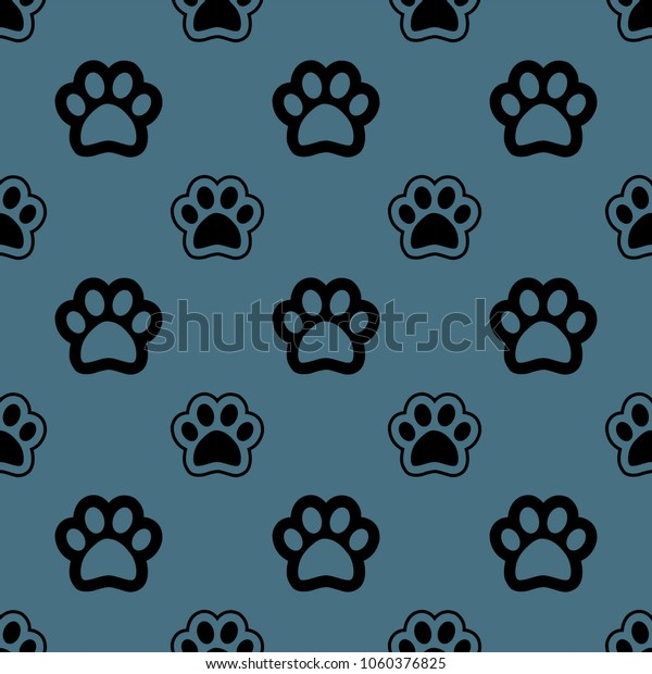Seamless Pattern Background Dog Bone Footprint Stock Vector (Royalty