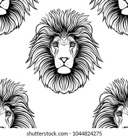 Seamless pattern, background with ethnic patterned ornate hand drawn head of leo, lion outline on white background .