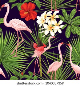 Seamless pattern, background with flamingo and tropical plants on black background.   Hand drawn colorful vector illustration without transparent and gradients.