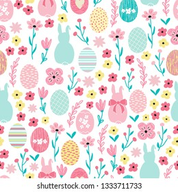 Seamless pattern background with flowers and cute bunny rabbits. Seamless ditsy floral pattern for Easter design.