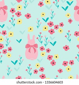 Seamless pattern background with flowers and cute bunny rabbits. Seamless ditsy floral pattern.