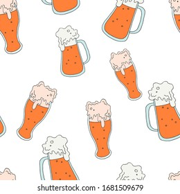 Seamless pattern. The background with the glasses. Foamy drink. Vector illustration. Stock vector. Beer.