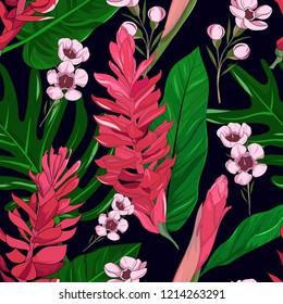 seamless pattern background of hand drawn alpinia purpurata exotic red ginger flower and geraldton wax australia native plant on dark navy