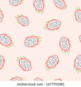 Seamless pattern background with hand drawn doodle hand drawn vector scandinavian style dragon fruits.Tileable repeating background for branding,package, fabric and textile, wrapping paper