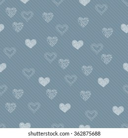 Seamless pattern background in heart. Love vector.
