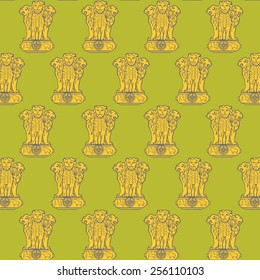 Seamless pattern background with indian coat of arms with three lions