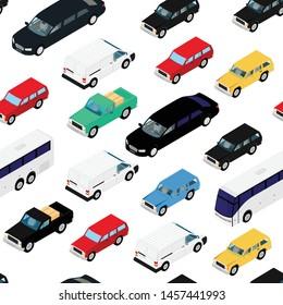Seamless pattern, background isometric cars. Urban transport.