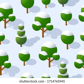 The seamless pattern is the background of the isometric forest park rural landscape with trees. Stock 3D illustration