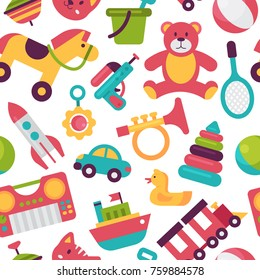 Seamless pattern background kid toys cartoon play childhood baby room vector illustration