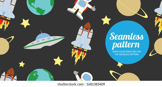 Seamless pattern background kids space Cute flat illustration vector design