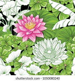 Seamless pattern, background with lotus on b&w stripes  background.    Hand drawn colorful vector illustration without transparent and gradients.
