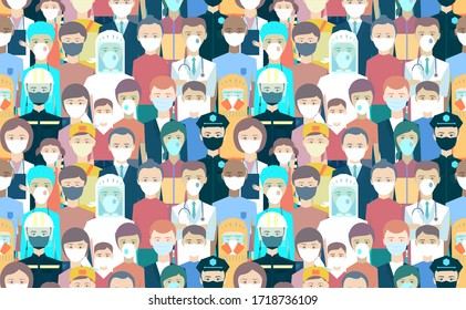 Seamless pattern. Background with medical workers, law enforcement, rescuers, pharmacists, salesmen, couriers, people, kids, old man, woman. The frontline to fight the disease Coronavirus, Covid-19