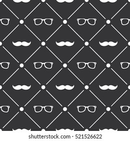 Seamless pattern background with moustache and glasses