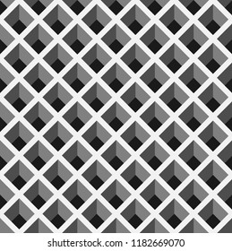 seamless pattern background with optical illusion.black and white trapezoid pattern background.interlaced grid pattern. pigeonhole