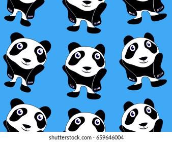 Seamless pattern background with panda