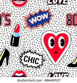Seamless pattern background with patch black heel shoe, wow label, open mouth, red lipstick, smile heart, chic and 80s label. Vector backdrop with badges, stickers, pins, patches. Style of 80s-90s.