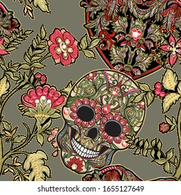 Seamless pattern, background with patch, embroidery imitation. Decorative floral motif with human skull in retro, vintage, jacobean embroidery style. Vector illustration on army green background