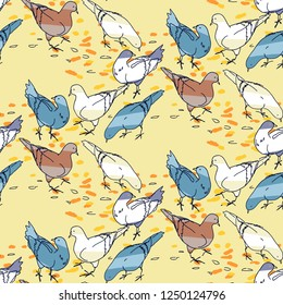 Seamless pattern background. Pigeons hand drawn silhouettes on colorful abstract geometric shapes. Birds and leaves in Autumn fall motif.