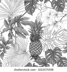 Seamless pattern, background with pineapple and  mango on white background.   Hand drawn monochrome vector illustration without transparent and gradients.