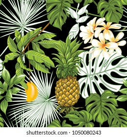 Seamless pattern, background with pineapple and  mango on black background.  Hand drawn colorful vector illustration without transparent and gradients.
