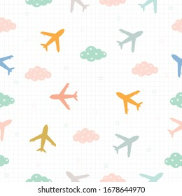 Seamless pattern The background of the plane and the clouds And has the form of a square grid Modern design ideas suitable for textiles, children's clothing, wrapping paper Illustration vector.