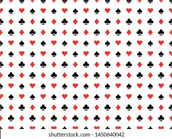 Seamless pattern background of poker suits, hearts, clubs, spades and diamonds on white background isolated. Casino gambling theme vector illustration. Abstract wallpaper.