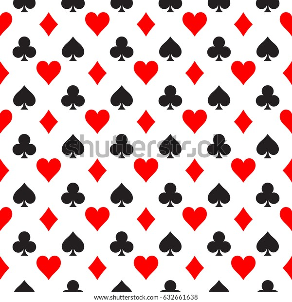 Seamless Pattern Background Poker Suits Hearts Stock Vector Royalty Free 632661638