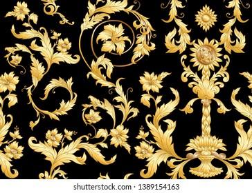 Seamless pattern, background Inbaroque, rococo, victorian, renaissance style. Trendy frolar vintage pattern.  In gold and black vector illustration.