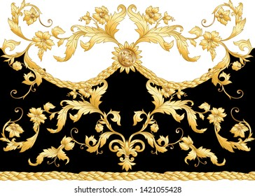 Seamless pattern, background In baroque, rococo, victorian, renaissance style. Trendy frolar vintage pattern.  Vector illustration in gold, black and white colors.