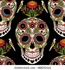 Seamless pattern, background with sugar  skull and floral patter