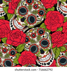 Seamless pattern, background with sugar  skull and red roses.