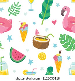 Seamless pattern background with summer tropical elements. Flamingo pool ring, coconut cocktail, watermelon and icecream. Trendy hipster textile ornament