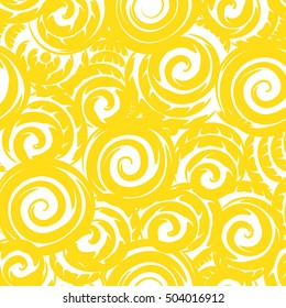 Seamless pattern background with swirls.Modern graphic design.Yellow and white