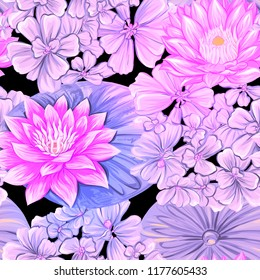 Colorful lotus flowers images stock photos vectors shutterstock seamless pattern background with tropical plants and lotus flowers colored vector illustration in mightylinksfo