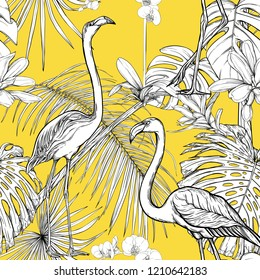 Seamless pattern, background. with tropical plants and flowers with white orchid and tropical birds. Graphic drawing, engraving style. vector illustration. Black and white on yellow background.