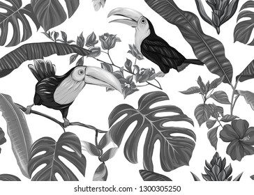 Seamless pattern, background with tropical plants, flowers and birds. Colored vector illustration. In monochrome gray colors