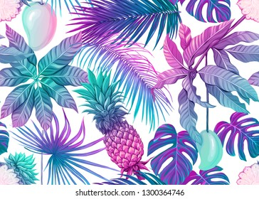 Seamless pattern, background with tropical plants, flowers. Colored vector illustration in neon, fluorescent colors. Isolated on white background.